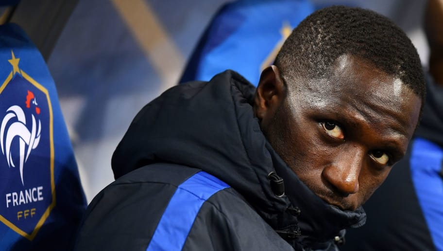 France's midfielder Moussa Sissoko sits on the bench during the friendly football match between France and Wales at the Stade de France stadium, in Saint-Denis, on the outskirts of Paris, on November 10, 2017. / AFP PHOTO / FRANCK FIFE        (Photo credit should read FRANCK FIFE/AFP/Getty Images)