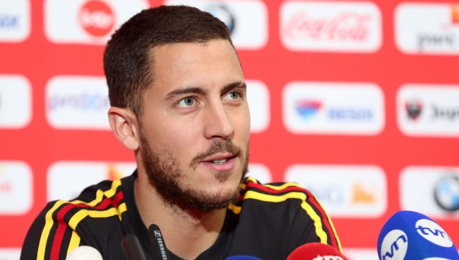 Belgium's footballer Eden Hazard addresses a press conference in Tubize, on March 26, 2018, ahead of a friendly match between Belgium and Saudi Arabia. / AFP PHOTO / Belga / BRUNO FAHY / Belgium OUT        (Photo credit should read BRUNO FAHY/AFP/Getty Images)