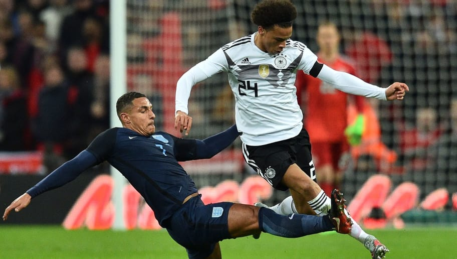 England's midfielder Jake Livermore (L) tries to tackle Germany's midfielder Leroy Sane (R) during the friendly international football match between England and Germany at Wembley Stadium in London on November 10, 2017. / AFP PHOTO / Glyn KIRK / NOT FOR MARKETING OR ADVERTISING USE / RESTRICTED TO EDITORIAL USE        (Photo credit should read GLYN KIRK/AFP/Getty Images)
