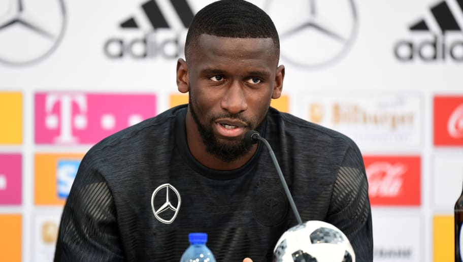 German national football team defender Antonio Rudiger speaks during a press conference at the Rungghof training center in Girlan, close to Bolzano, northeastern Italy, on May 28, 2018 ahead of the FIFA World Cup 2018 in Russia. (Photo by MIGUEL MEDINA / AFP)        (Photo credit should read MIGUEL MEDINA/AFP/Getty Images)