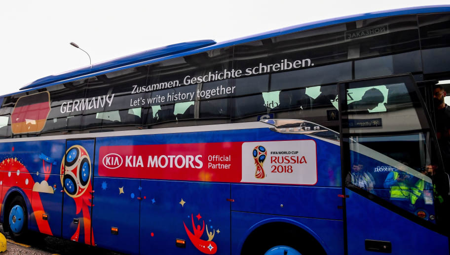 The bus carrying Germany's national football team leaves upon the team's arrival at the Vnukovo airport, in the outskirts of Moscow, on June 12, 2018, ahead of the Russia 2018 World Cup footbal tournament. (Photo by Yuri KADOBNOV / AFP)        (Photo credit should read YURI KADOBNOV/AFP/Getty Images)
