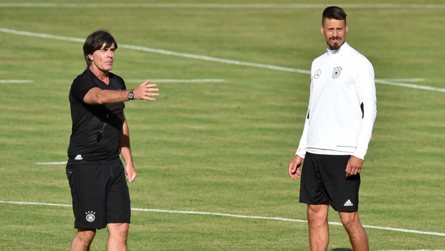 Germany's national football coach Joachim Loew (L) gestures beside of Germany's midfielder Sandro Wagner (R) during a trainings session in Herzogenaurach, southern Germany, on June 8, 2017 ahead of the WC 2018 qualification match between Germany and San Marino.   / AFP PHOTO / Christof STACHE        (Photo credit should read CHRISTOF STACHE/AFP/Getty Images)