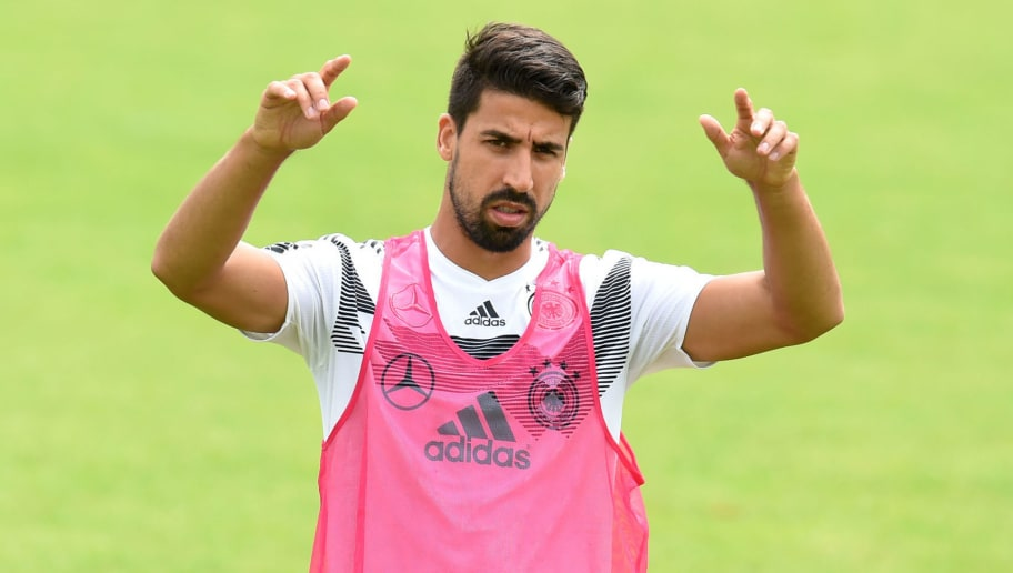 Germany's midfielder Sami Khedira attends a training session at the Rungghof training centre on June 7, 2018 in Eppan near Bolzano, northern Italy, ahead of the FIFA World Cup 2018 in Russia. (Photo by Christof STACHE / AFP)        (Photo credit should read CHRISTOF STACHE/AFP/Getty Images)