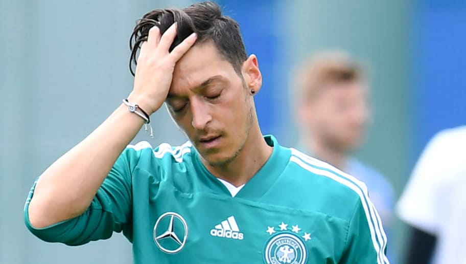 Germany's midfielder Mesut Ozil reacts during a training session in Vatutinki, near Moscow, on June 13, 2018, ahead of the Russia 2018 World Cup football tournament. (Photo by Patrik STOLLARZ / AFP)        (Photo credit should read PATRIK STOLLARZ/AFP/Getty Images)