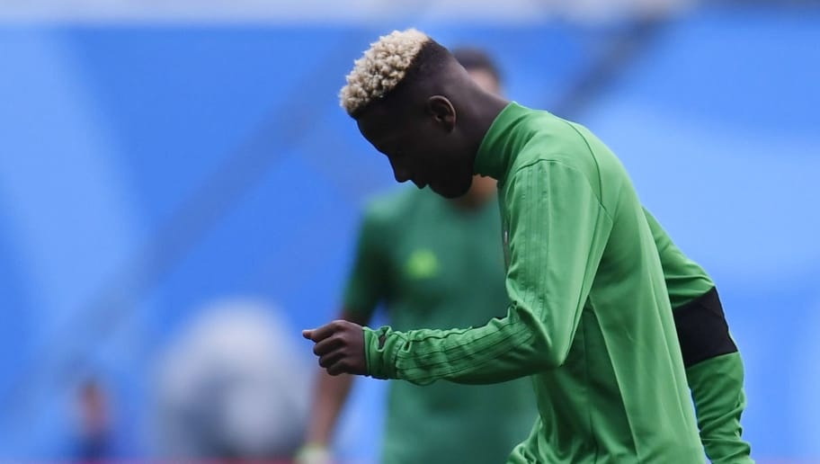 Morocco's defender Hamza Mendyl takes part in a training session at Saint Petersburg Stadium on June 14, 2018, ahead of the Russia 2018 World Cup football game Iran vs Morocco. (Photo by CHRISTOPHE SIMON / AFP)        (Photo credit should read CHRISTOPHE SIMON/AFP/Getty Images)
