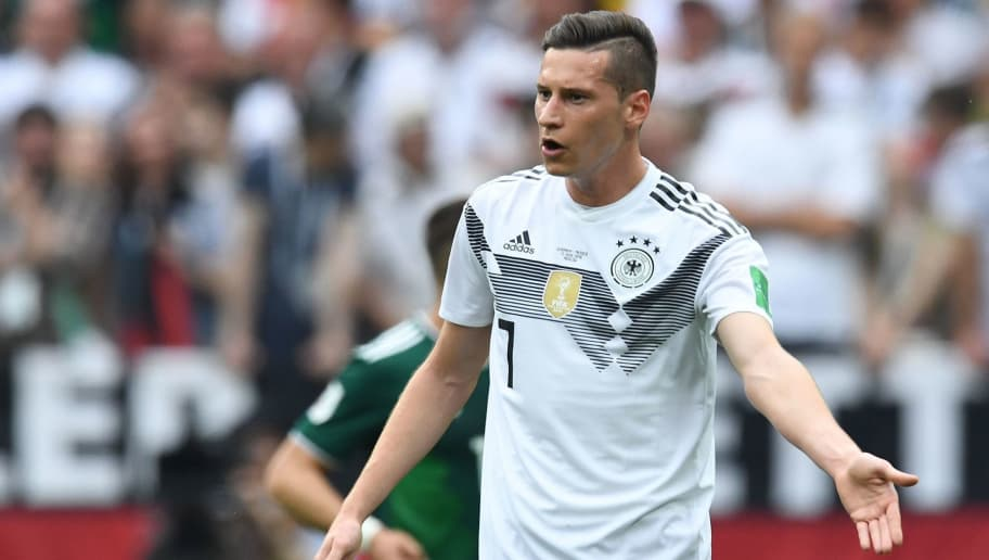 Germany's forward Julian Draxler gestures during the Russia 2018 World Cup Group F football match between Germany and Mexico at the Luzhniki Stadium in Moscow on June 17, 2018. (Photo by Kirill KUDRYAVTSEV / AFP) / RESTRICTED TO EDITORIAL USE - NO MOBILE PUSH ALERTS/DOWNLOADS        (Photo credit should read KIRILL KUDRYAVTSEV/AFP/Getty Images)