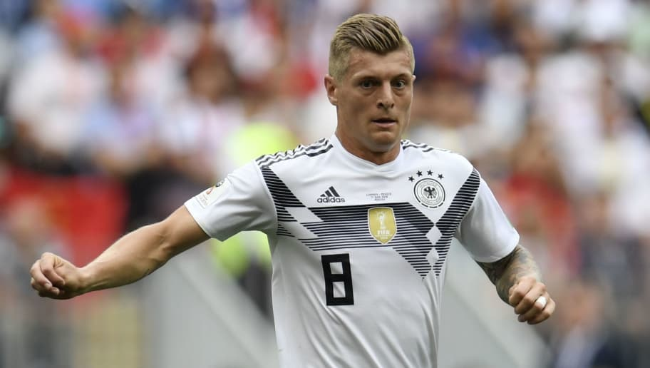 Germany's midfielder Toni Kroos controls the ball during the Russia 2018 World Cup Group F football match between Germany and Mexico at the Luzhniki Stadium in Moscow on June 17, 2018. (Photo by Patrik STOLLARZ / AFP) / RESTRICTED TO EDITORIAL USE - NO MOBILE PUSH ALERTS/DOWNLOADS        (Photo credit should read PATRIK STOLLARZ/AFP/Getty Images)