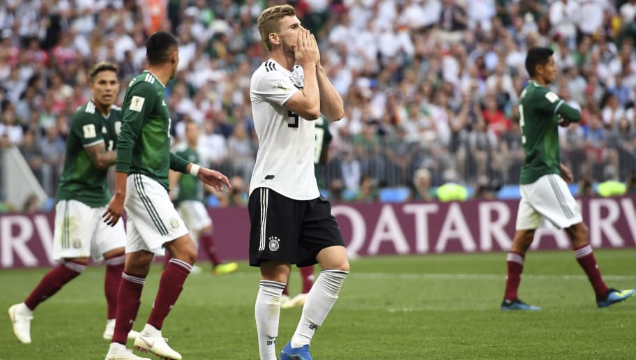 Germany's forward Timo Werner reacts at the end of the Russia 2018 World Cup Group F football match between Germany and Mexico at the Luzhniki Stadium in Moscow on June 17, 2018. (Photo by PATRIK STOLLARZ / AFP) / RESTRICTED TO EDITORIAL USE - NO MOBILE PUSH ALERTS/DOWNLOADS        (Photo credit should read PATRIK STOLLARZ/AFP/Getty Images)