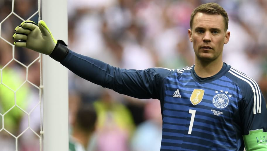 Germany's goalkeeper Manuel Neuer gestures during the Russia 2018 World Cup Group F football match between Germany and Mexico at the Luzhniki Stadium in Moscow on June 17, 2018. (Photo by Patrik STOLLARZ / AFP) / RESTRICTED TO EDITORIAL USE - NO MOBILE PUSH ALERTS/DOWNLOADS        (Photo credit should read PATRIK STOLLARZ/AFP/Getty Images)