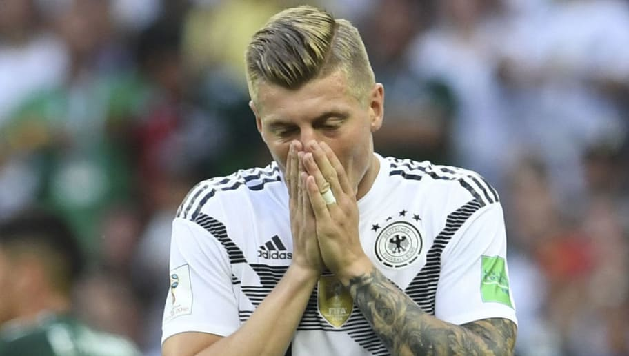 Germany's midfielder Toni Kroos reacts during the Russia 2018 World Cup Group F football match between Germany and Mexico at the Luzhniki Stadium in Moscow on June 17, 2018. (Photo by Francisco LEONG / AFP) / RESTRICTED TO EDITORIAL USE - NO MOBILE PUSH ALERTS/DOWNLOADS        (Photo credit should read FRANCISCO LEONG/AFP/Getty Images)