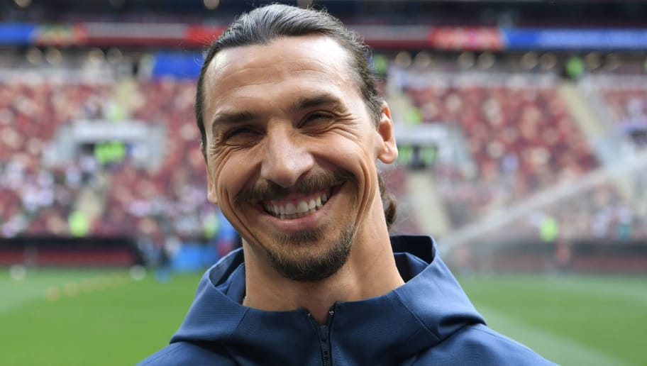 Swedish football player Zlatan Ibrahimovic smiles before the Russia 2018 World Cup Group F football match between Germany and Mexico at the Luzhniki Stadium in Moscow on June 17, 2018. (Photo by Kirill KUDRYAVTSEV / AFP) / RESTRICTED TO EDITORIAL USE - NO MOBILE PUSH ALERTS/DOWNLOADS        (Photo credit should read KIRILL KUDRYAVTSEV/AFP/Getty Images)