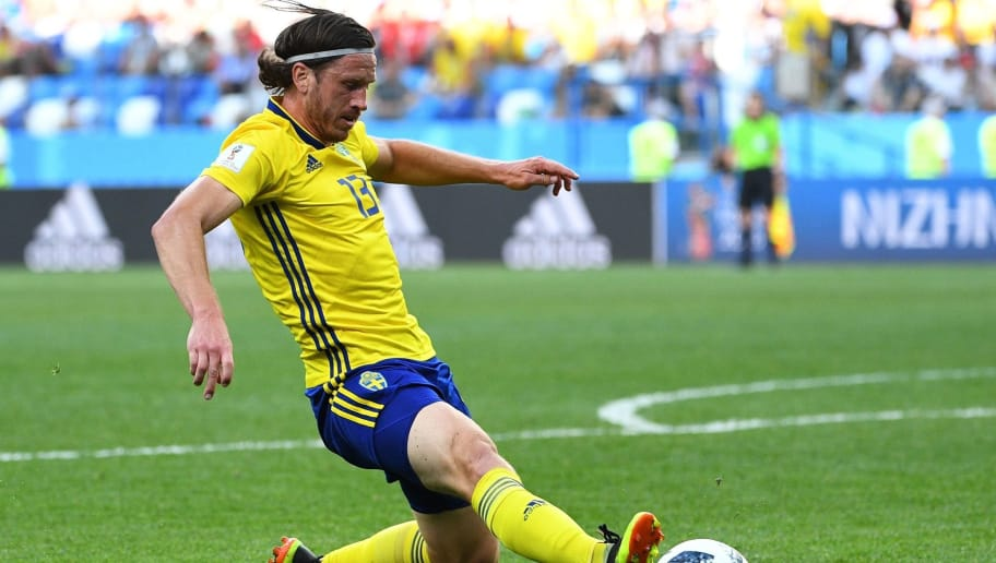 Sweden's midfielder Gustav Svensson slides to clear the ball during the Russia 2018 World Cup Group F football match between Sweden and South Korea at the Nizhny Novgorod Stadium in Nizhny Novgorod on June 18, 2018. (Photo by Johannes EISELE / AFP) / RESTRICTED TO EDITORIAL USE - NO MOBILE PUSH ALERTS/DOWNLOADS        (Photo credit should read JOHANNES EISELE/AFP/Getty Images)