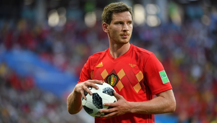 Belgium's defender Jan Vertonghen holds the ball as he reacts during the Russia 2018 World Cup Group G football match between Belgium and Panama at the Fisht Stadium in Sochi on June 18, 2018. (Photo by Nelson Almeida / AFP) / RESTRICTED TO EDITORIAL USE - NO MOBILE PUSH ALERTS/DOWNLOADS        (Photo credit should read NELSON ALMEIDA/AFP/Getty Images)