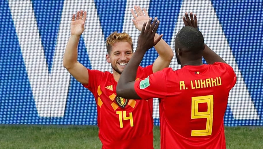 Belgium's forward Dries Mertens (L) is congratulated by Belgium's forward Romelu Lukaku after scoring a goal during the Russia 2018 World Cup Group G football match between Belgium and Panama at the Fisht Stadium in Sochi on June 18, 2018. (Photo by Odd ANDERSEN / AFP) / RESTRICTED TO EDITORIAL USE - NO MOBILE PUSH ALERTS/DOWNLOADS        (Photo credit should read ODD ANDERSEN/AFP/Getty Images)