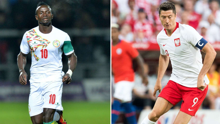 (COMBO) This combination of pictures created on June 17, 2018 shows Senegal's forward Sadio Mane at the Hive Stadium in Barnet on March 23, 2017 (L) and Poland's forward Robert Lewandowski at the Arena Poznan stadium in Poznan on June 8, 2018. - Poland will play Senegal in their Russia 2018 World Cup Group H football match at the Spartak Stadium in Moscow on June 19, 2018. (Photo by OLLY GREENWOOD and Andrzej IWANCZUK / AFP)        (Photo credit should read OLLY GREENWOOD,ANDRZEJ IWANCZUK/AFP/Getty Images)