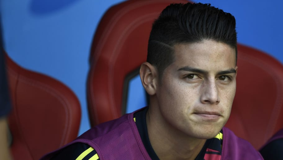 Colombia's midfielder James Rodriguez attends the Russia 2018 World Cup Group H football match between Colombia and Japan at the Mordovia Arena in Saransk on June 19, 2018. (Photo by Filippo MONTEFORTE / AFP) / RESTRICTED TO EDITORIAL USE - NO MOBILE PUSH ALERTS/DOWNLOADS        (Photo credit should read FILIPPO MONTEFORTE/AFP/Getty Images)