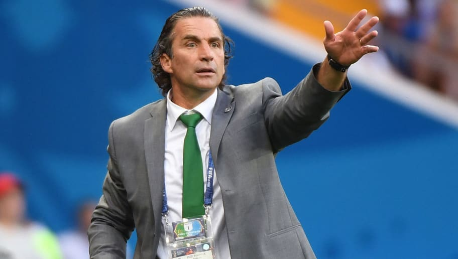 Saudi Arabia's coach Juan Antonio Pizzi gestures on the sideline during the Russia 2018 World Cup Group A football match between Uruguay and Saudi Arabia at the Rostov Arena in Rostov-On-Don on June 20, 2018. (Photo by Khaled DESOUKI / AFP) / RESTRICTED TO EDITORIAL USE - NO MOBILE PUSH ALERTS/DOWNLOADS        (Photo credit should read KHALED DESOUKI/AFP/Getty Images)
