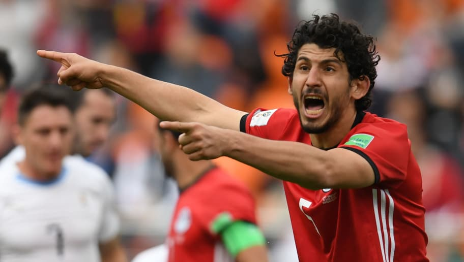 Egypt's defender Ahmed Hegazi reacts during the Russia 2018 World Cup Group A football match between Egypt and Uruguay at the Ekaterinburg Arena in Ekaterinburg on June 15, 2018. (Photo by JORGE GUERRERO / AFP) / RESTRICTED TO EDITORIAL USE - NO MOBILE PUSH ALERTS/DOWNLOADS        (Photo credit should read JORGE GUERRERO/AFP/Getty Images)