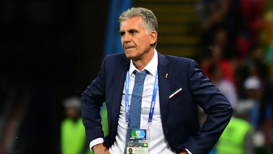 Iran's coach Carlos Queiroz reacts during the Russia 2018 World Cup Group B football match between Iran and Spain at the Kazan Arena in Kazan on June 20, 2018. (Photo by Luis Acosta / AFP) / RESTRICTED TO EDITORIAL USE - NO MOBILE PUSH ALERTS/DOWNLOADS        (Photo credit should read LUIS ACOSTA/AFP/Getty Images)