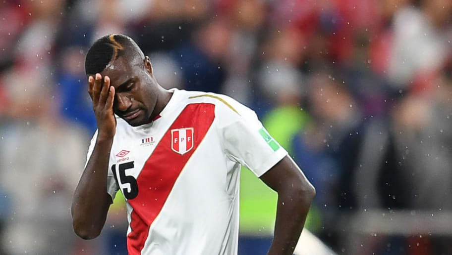 Peru's defender Christian Ramos reacts after defeat during the Russia 2018 World Cup Group C football match between France and Peru at the Ekaterinburg Arena in Ekaterinburg on June 21, 2018. (Photo by HECTOR RETAMAL / AFP) / RESTRICTED TO EDITORIAL USE - NO MOBILE PUSH ALERTS/DOWNLOADS        (Photo credit should read HECTOR RETAMAL/AFP/Getty Images)