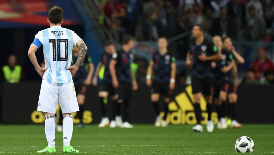 Argentina's forward Lionel Messi waits to kick off after Croatia scored their opener during the Russia 2018 World Cup Group D football match between Argentina and Croatia at the Nizhny Novgorod Stadium in Nizhny Novgorod on June 21, 2018. (Photo by Dimitar DILKOFF / AFP) / RESTRICTED TO EDITORIAL USE - NO MOBILE PUSH ALERTS/DOWNLOADS        (Photo credit should read DIMITAR DILKOFF/AFP/Getty Images)