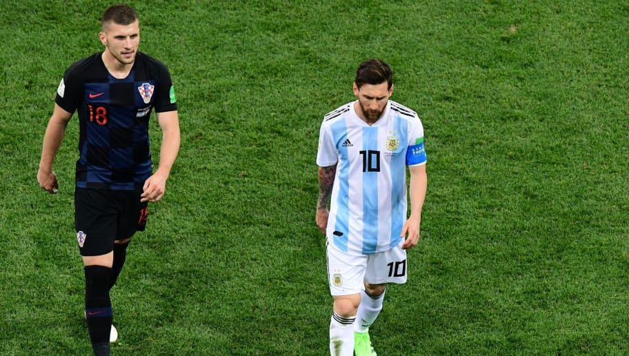 Argentina's forward Lionel Messi (R) and Croatia's forward Ante Rebic look on during the Russia 2018 World Cup Group D football match between Argentina and Croatia at the Nizhny Novgorod Stadium in Nizhny Novgorod on June 21, 2018. (Photo by Martin BERNETTI / AFP) / RESTRICTED TO EDITORIAL USE - NO MOBILE PUSH ALERTS/DOWNLOADS        (Photo credit should read MARTIN BERNETTI/AFP/Getty Images)