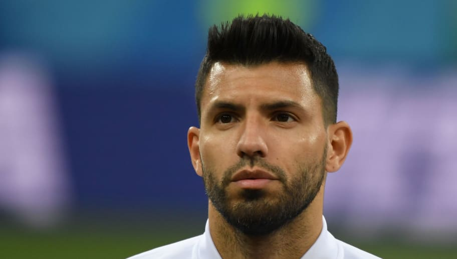 Argentina's forward Sergio Aguero poses before the Russia 2018 World Cup Group D football match between Argentina and Croatia at the Nizhny Novgorod Stadium in Nizhny Novgorod on June 21, 2018. (Photo by Dimitar DILKOFF / AFP) / RESTRICTED TO EDITORIAL USE - NO MOBILE PUSH ALERTS/DOWNLOADS        (Photo credit should read DIMITAR DILKOFF/AFP/Getty Images)