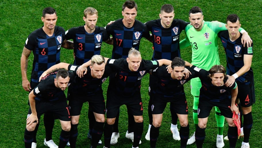 Team Croatia with (from top left) Croatia's defender Dejan Lovren, Croatia's defender Ivan Strinic, Croatia's forward Mario Mandzukic, Croatia's forward Ante Rebic, Croatia's goalkeeper Danijel Subasic, Croatia's forward Ivan Perisic, Croatia's midfielder Marcelo Brozovic, Croatia's midfielder Ivan Rakitic, Croatia's defender Domagoj Vida, Croatia's defender Sime Vrsaljko and Croatia's midfielder Luka Modric pose before the Russia 2018 World Cup Group D football match between Argentina and Croatia at the Nizhny Novgorod Stadium in Nizhny Novgorod on June 21, 2018. (Photo by MARTIN BERNETTI / AFP) / RESTRICTED TO EDITORIAL USE - NO MOBILE PUSH ALERTS/DOWNLOADS        (Photo credit should read MARTIN BERNETTI/AFP/Getty Images)