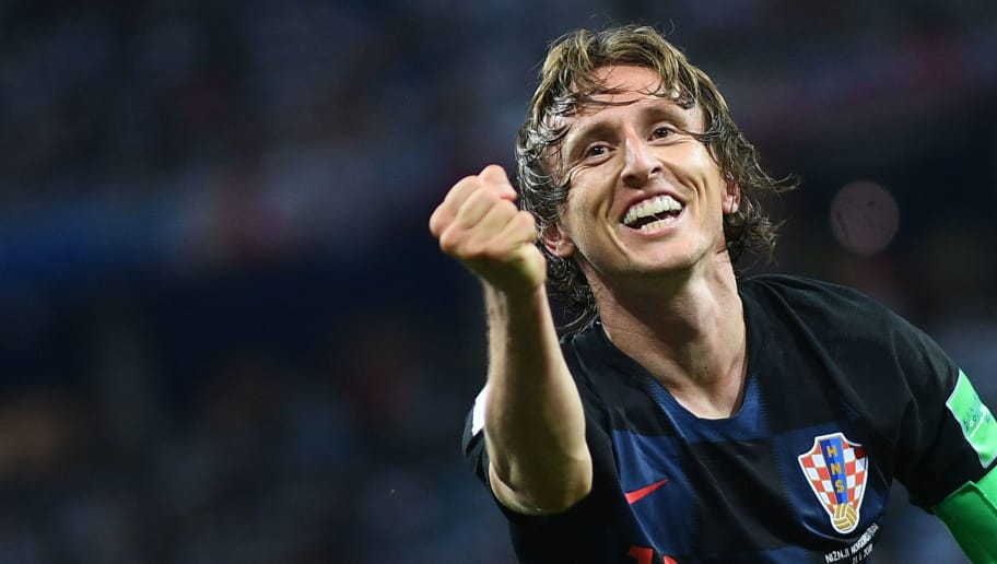 Croatia's midfielder Luka Modric celebrates after scoring their second goal during the Russia 2018 World Cup Group D football match between Argentina and Croatia at the Nizhny Novgorod Stadium in Nizhny Novgorod on June 21, 2018. (Photo by Johannes EISELE / AFP) / RESTRICTED TO EDITORIAL USE - NO MOBILE PUSH ALERTS/DOWNLOADS        (Photo credit should read JOHANNES EISELE/AFP/Getty Images)
