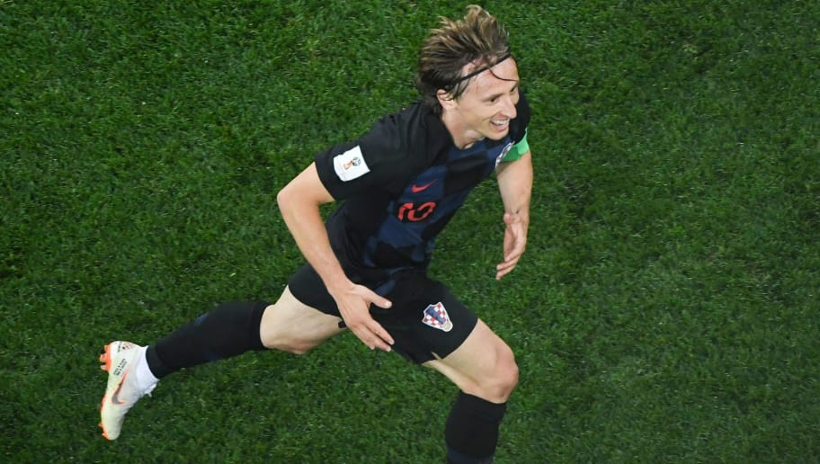Croatia's midfielder Luka Modric celebrates after scoring during the Russia 2018 World Cup Group D football match between Argentina and Croatia at the Nizhny Novgorod Stadium in Nizhny Novgorod on June 21, 2018. (Photo by Kirill KUDRYAVTSEV / AFP) / RESTRICTED TO EDITORIAL USE - NO MOBILE PUSH ALERTS/DOWNLOADS        (Photo credit should read KIRILL KUDRYAVTSEV/AFP/Getty Images)