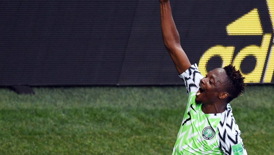 Nigeria's forward Ahmed Musa celebrates after scoring a second goal during the Russia 2018 World Cup Group D football match between Nigeria and Iceland at the Volgograd Arena in Volgograd on June 22, 2018. (Photo by Philippe DESMAZES / AFP) / RESTRICTED TO EDITORIAL USE - NO MOBILE PUSH ALERTS/DOWNLOADS        (Photo credit should read PHILIPPE DESMAZES/AFP/Getty Images)