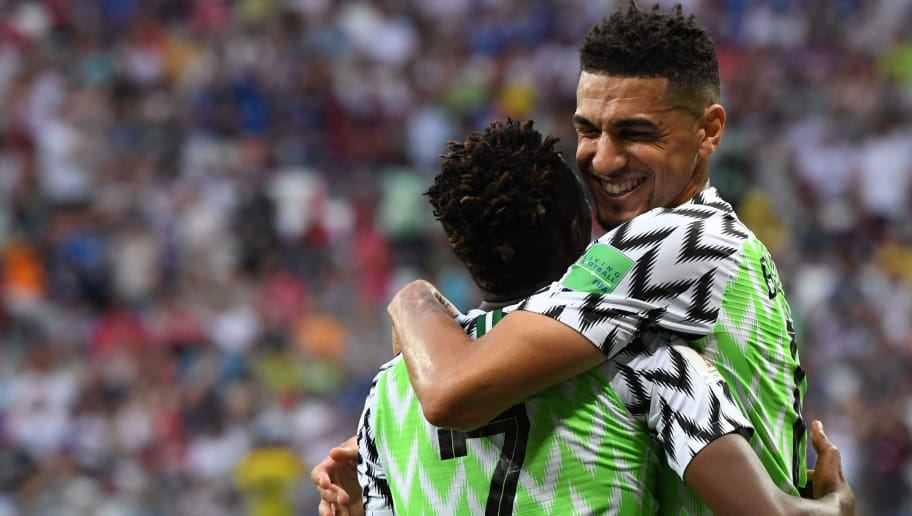 Nigeria's forward Ahmed Musa (L) celebrates with Nigeria's defender Leon Balogun after scoring their second goal during the Russia 2018 World Cup Group D football match between Nigeria and Iceland at the Volgograd Arena in Volgograd on June 22, 2018. (Photo by Mark RALSTON / AFP) / RESTRICTED TO EDITORIAL USE - NO MOBILE PUSH ALERTS/DOWNLOADS        (Photo credit should read MARK RALSTON/AFP/Getty Images)