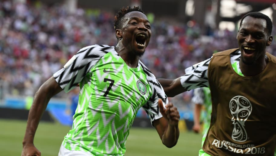 Nigeria's forward Ahmed Musa celebrates after scoring their second goal during the Russia 2018 World Cup Group D football match between Nigeria and Iceland at the Volgograd Arena in Volgograd on June 22, 2018. (Photo by Mark RALSTON / AFP) / RESTRICTED TO EDITORIAL USE - NO MOBILE PUSH ALERTS/DOWNLOADS        (Photo credit should read MARK RALSTON/AFP/Getty Images)