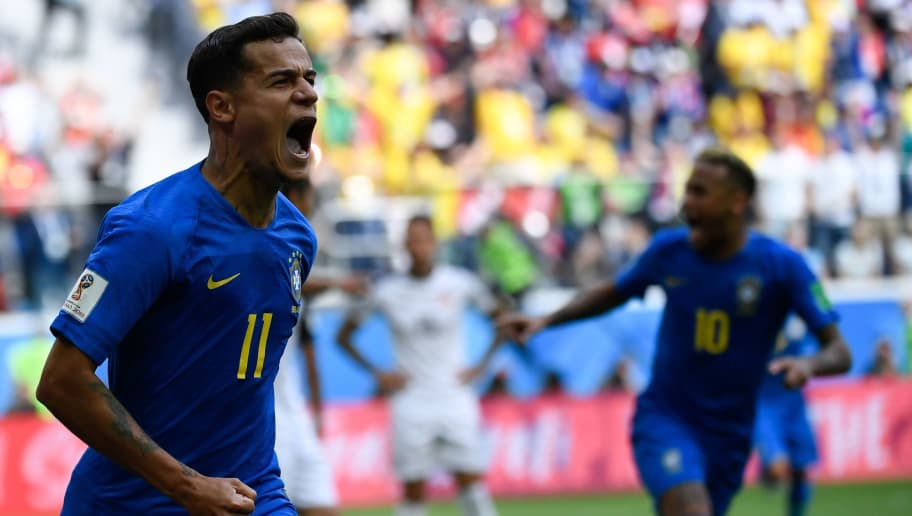 Brazil's forward Philippe Coutinho celebrates scoring the opening goal during the Russia 2018 World Cup Group E football match between Brazil and Costa Rica at the Saint Petersburg Stadium in Saint Petersburg on June 22, 2018. (Photo by CHRISTOPHE SIMON / AFP) / RESTRICTED TO EDITORIAL USE - NO MOBILE PUSH ALERTS/DOWNLOADS        (Photo credit should read CHRISTOPHE SIMON/AFP/Getty Images)