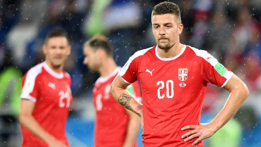 Serbia's midfielder Sergej Milinkovic-Savic reacts after losing their Russia 2018 World Cup Group E football match between Serbia and Switzerland at the Kaliningrad Stadium in Kaliningrad on June 22, 2018. (Photo by OZAN KOSE / AFP) / RESTRICTED TO EDITORIAL USE - NO MOBILE PUSH ALERTS/DOWNLOADS        (Photo credit should read OZAN KOSE/AFP/Getty Images)