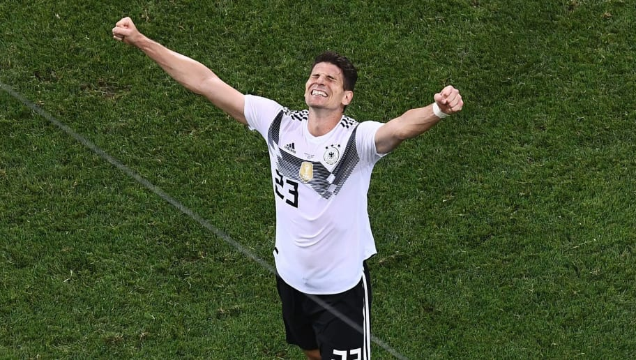 Germany's forward Mario Gomez celebrates their victory during the Russia 2018 World Cup Group F football match between Germany and Sweden at the Fisht Stadium in Sochi on June 23, 2018. (Photo by Jewel SAMAD / AFP) / RESTRICTED TO EDITORIAL USE - NO MOBILE PUSH ALERTS/DOWNLOADS        (Photo credit should read JEWEL SAMAD/AFP/Getty Images)