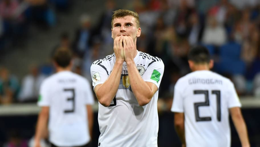 Germany's forward Timo Werner reacts during the Russia 2018 World Cup Group F football match between Germany and Sweden at the Fisht Stadium in Sochi on June 23, 2018. (Photo by Nelson Almeida / AFP) / RESTRICTED TO EDITORIAL USE - NO MOBILE PUSH ALERTS/DOWNLOADS        (Photo credit should read NELSON ALMEIDA/AFP/Getty Images)