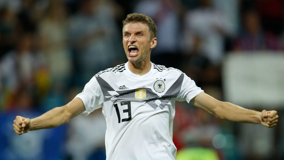 Germany's forward Thomas Mueller celebrates after winning at the end of the Russia 2018 World Cup Group F football match between Germany and Sweden at the Fisht Stadium in Sochi on June 23, 2018. (Photo by Odd ANDERSEN / AFP) / RESTRICTED TO EDITORIAL USE - NO MOBILE PUSH ALERTS/DOWNLOADS        (Photo credit should read ODD ANDERSEN/AFP/Getty Images)