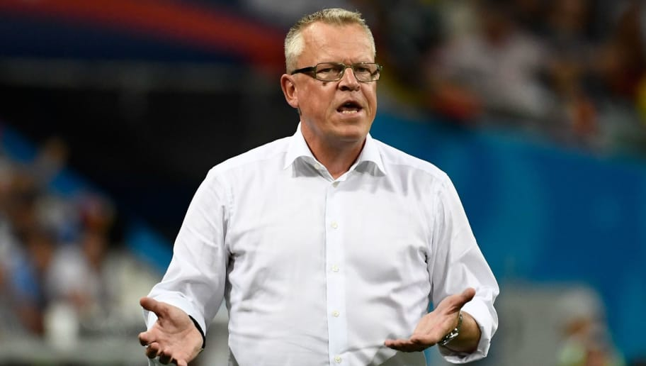 Sweden's coach Janne Andersson gestures during the Russia 2018 World Cup Group F football match between Germany and Sweden at the Fisht Stadium in Sochi on June 23, 2018. (Photo by Jonathan NACKSTRAND / AFP) / RESTRICTED TO EDITORIAL USE - NO MOBILE PUSH ALERTS/DOWNLOADS        (Photo credit should read JONATHAN NACKSTRAND/AFP/Getty Images)