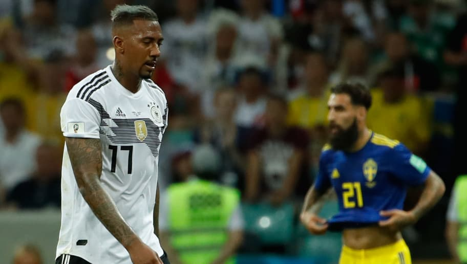 Germany's defender Jerome Boateng reacts after receiving a red card and leaves the football pitch during the Russia 2018 World Cup Group F football match between Germany and Sweden at the Fisht Stadium in Sochi on June 23, 2018. (Photo by Odd ANDERSEN / AFP) / RESTRICTED TO EDITORIAL USE - NO MOBILE PUSH ALERTS/DOWNLOADS        (Photo credit should read ODD ANDERSEN/AFP/Getty Images)