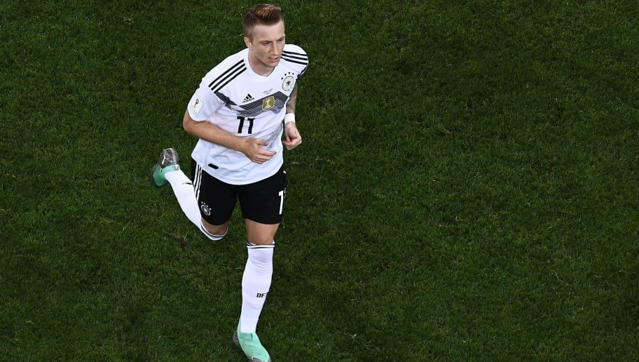 Germany's forward Marco Reus celebrates his goal during the Russia 2018 World Cup Group F football match between Germany and Sweden at the Fisht Stadium in Sochi on June 23, 2018. (Photo by Jewel SAMAD / AFP) / RESTRICTED TO EDITORIAL USE - NO MOBILE PUSH ALERTS/DOWNLOADS        (Photo credit should read JEWEL SAMAD/AFP/Getty Images)