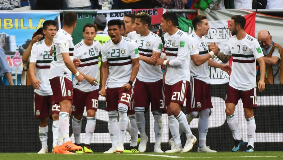 Mexico's players celebrate the opening goal scored by Mexico's forward Carlos Vela during the Russia 2018 World Cup Group F football match between South Korea and Mexico at the Rostov Arena in Rostov-On-Don on June 23, 2018. (Photo by Khaled DESOUKI / AFP) / RESTRICTED TO EDITORIAL USE - NO MOBILE PUSH ALERTS/DOWNLOADS        (Photo credit should read KHALED DESOUKI/AFP/Getty Images)