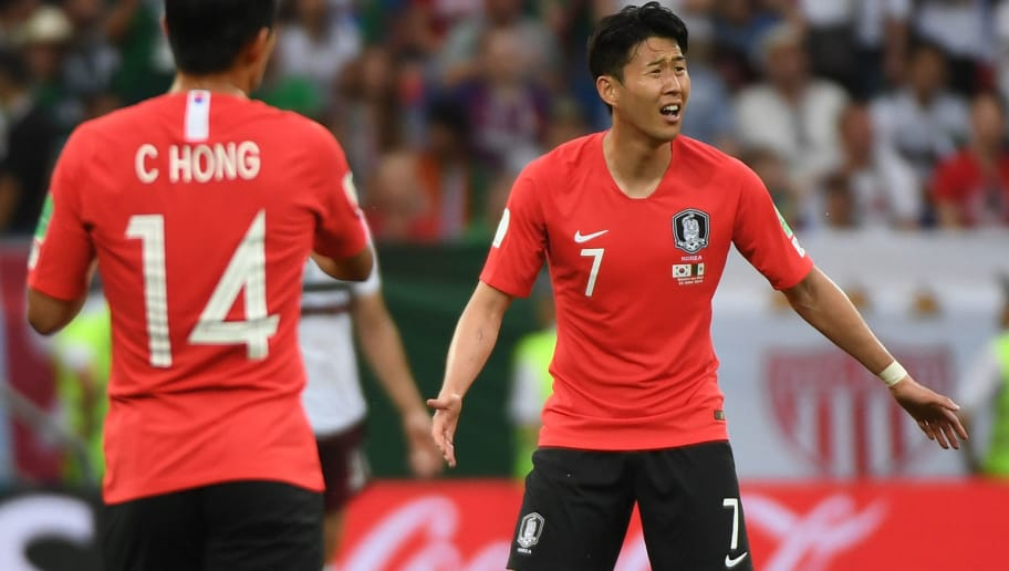 South Korea's forward Son Heung-min reacts after scoring their first goal during the Russia 2018 World Cup Group F football match between South Korea and Mexico at the Rostov Arena in Rostov-On-Don on June 23, 2018. (Photo by Khaled DESOUKI / AFP) / RESTRICTED TO EDITORIAL USE - NO MOBILE PUSH ALERTS/DOWNLOADS        (Photo credit should read KHALED DESOUKI/AFP/Getty Images)