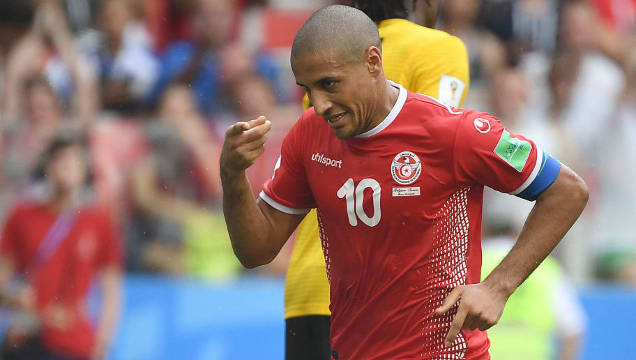 Tunisia's forward Wahbi Khazri celebrates a goal during the Russia 2018 World Cup Group G football match between Belgium and Tunisia at the Spartak Stadium in Moscow on June 23, 2018. (Photo by Kirill KUDRYAVTSEV / AFP) / RESTRICTED TO EDITORIAL USE - NO MOBILE PUSH ALERTS/DOWNLOADS        (Photo credit should read KIRILL KUDRYAVTSEV/AFP/Getty Images)