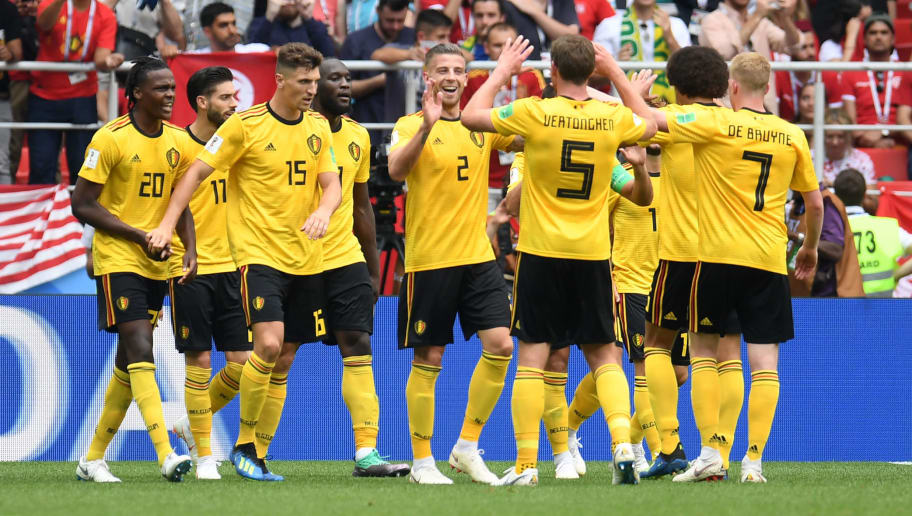 Belgium players celebrate their fourth goal during the Russia 2018 World Cup Group G football match between Belgium and Tunisia at the Spartak Stadium in Moscow on June 23, 2018. (Photo by Patrik STOLLARZ / AFP) / RESTRICTED TO EDITORIAL USE - NO MOBILE PUSH ALERTS/DOWNLOADS        (Photo credit should read PATRIK STOLLARZ/AFP/Getty Images)
