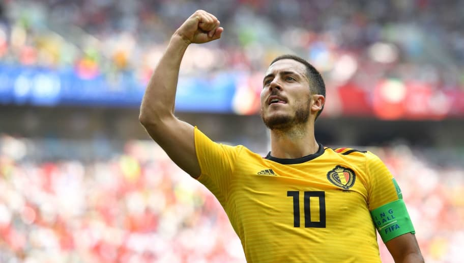 Belgium's forward Eden Hazard celebrates his second goal during the Russia 2018 World Cup Group G football match between Belgium and Tunisia at the Spartak Stadium in Moscow on June 23, 2018. (Photo by Yuri CORTEZ / AFP) / RESTRICTED TO EDITORIAL USE - NO MOBILE PUSH ALERTS/DOWNLOADS        (Photo credit should read YURI CORTEZ/AFP/Getty Images)