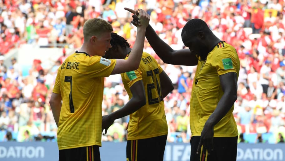 Belgium's forward Romelu Lukaku celebrates his second goal, and his team's third, with Belgium's midfielder Kevin De Bruyne (L) during the Russia 2018 World Cup Group G football match between Belgium and Tunisia at the Spartak Stadium in Moscow on June 23, 2018. (Photo by PATRIK STOLLARZ / AFP) / RESTRICTED TO EDITORIAL USE - NO MOBILE PUSH ALERTS/DOWNLOADS        (Photo credit should read PATRIK STOLLARZ/AFP/Getty Images)