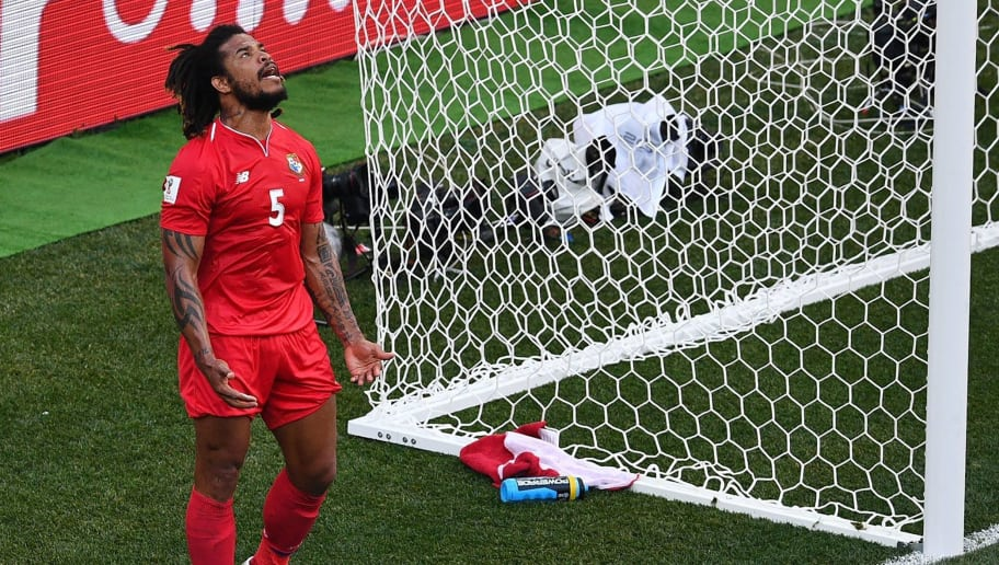 Panama's defender Roman Torres reacts during the Russia 2018 World Cup Group G football match between England and Panama at the Nizhny Novgorod Stadium in Nizhny Novgorod on June 24, 2018. (Photo by Johannes EISELE / AFP) / RESTRICTED TO EDITORIAL USE - NO MOBILE PUSH ALERTS/DOWNLOADS        (Photo credit should read JOHANNES EISELE/AFP/Getty Images)
