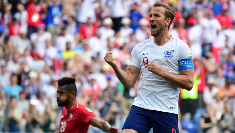 England's forward Harry Kane celebrates after scoring his team's fifth goal during the Russia 2018 World Cup Group G football match between England and Panama at the Nizhny Novgorod Stadium in Nizhny Novgorod on June 24, 2018. (Photo by Martin BERNETTI / AFP) / RESTRICTED TO EDITORIAL USE - NO MOBILE PUSH ALERTS/DOWNLOADS        (Photo credit should read MARTIN BERNETTI/AFP/Getty Images)