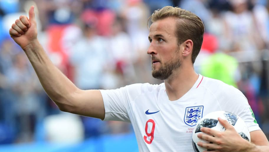 England's forward Harry Kane who scored a hat-trick holds the match ball at the end of the Russia 2018 World Cup Group G football match between England and Panama at the Nizhny Novgorod Stadium in Nizhny Novgorod on June 24, 2018. (Photo by Martin BERNETTI / AFP) / RESTRICTED TO EDITORIAL USE - NO MOBILE PUSH ALERTS/DOWNLOADS        (Photo credit should read MARTIN BERNETTI/AFP/Getty Images)